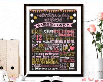 Valentine's Day Chalkboard Sign, Love Chalkboard Sign, Romantic Itinerary Chalkboard Sign, Printable Sign, Printable Poster