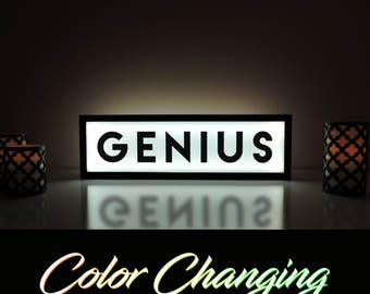 Genius Sign, Genius, Remote Control Sign, Light Up Sign, Illuminated Art, Library Sign, Dorm Room Decor, Genius Art, Genius Decor