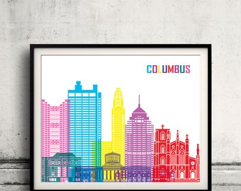 Columbus pop art skyline - Fine Art Print Glicee Poster Gift Illustration Pop Art Colorful Landmarks - SKU 2254