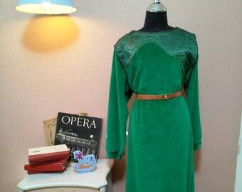 Velvet Dress.Vintage Dress.Green Dress. Winter Dress.70'S Dress.70's.Long Glamor Vintage Dress For Women 1970s.Size OS