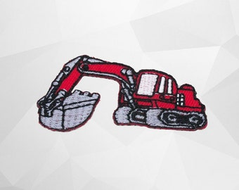 Red Soil Excavator Iron on patch (S) 5.5 x 3.0 cm - Excavator Applique Embroidered Iron on Patch # 3