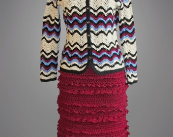 Crochet jacket Rosita. Multicolor crochet cotton sweater jacket. Made to order. Free shipping.