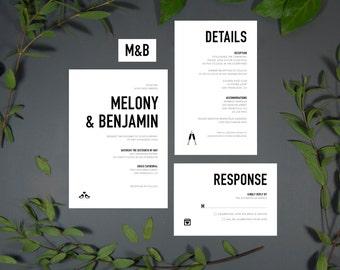 Modern Wedding Invitation, Printable Digital File