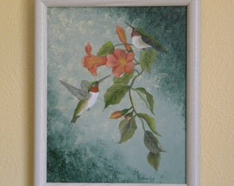 Ruby Throated Hummingbirds with Trumpet Vine in Oil