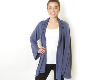 Plus Size Blue Jeans Cardigan Long Sleeve Knit  Oversized loose sweater for women