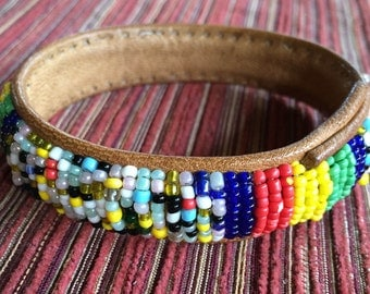 Leather Bead Cuff,Native Bracelet,African Bracelet,Multi Color Bracelet,Bead Cuff Bracelet,Color Bead Bracelet,Folk Bead Bracelet,Bead Cuff