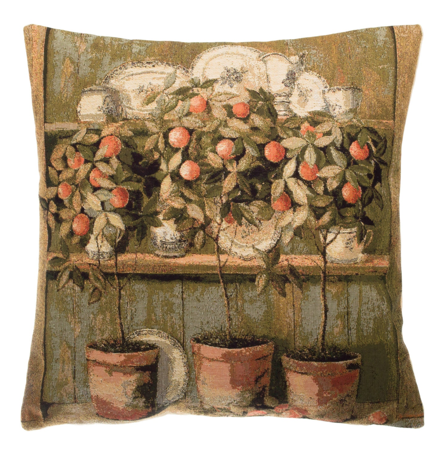 belgian tapestry throw pillow cushion cover painting with ...