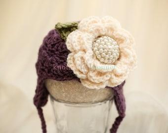 Purple Baby Girl Ear Warmer Hat with Flower