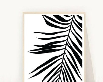 Palm Leaf Print, Tropical Leaf Print, Printable Art, Palm Art Print,  Minimalist Art, Black and White, Digital Download, Modern Wall Print