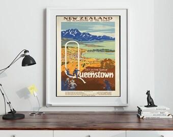 Queenstown New Zealand Travel Poster Queenstown Print Queenstown Poster New Zealand Poster New Zealand Print New Zealand Wall Art