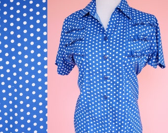Vintage 50s, Blue and White, Polkadot, Shirt // Retro 1950s, Blouse, Pin Up, Costume, Women Size Medium Large