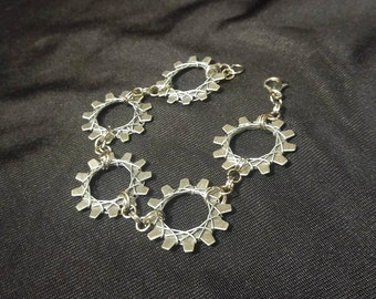 Silver steampunk hardware industrial wire wrapped gear found object punk rock bracelet handmade jewelry