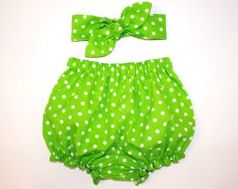 Lime Green Baby Bloomers, Headband Set, Baby Girl Headband, Baby Bloomers and Headband Set, Polka Dots, Green