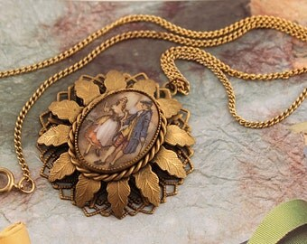 Vintage Porcelain Cameo Necklace | Courting Couple Cameo | Gold Gilt Filigree Pendant