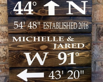 Home Coordinates sign | GPS Coordinates Sign | Wedding sign | Personalized Sign | Name Sign | Latitude Longitude Sign | wedding gifts | home