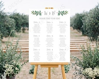 Personalised Printable Wedding Seating Chart, Wedding Table Plan, Brooke Collection