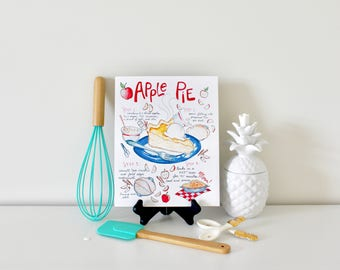 Apple Pie Recipe Kitchen Art Print, Patriotic Decor, Wall Art Print, Red White and Blue, July 4, Watercolor Fruit, Foodie Gifts, Gift Ideas
