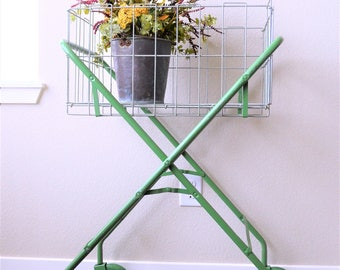 Vintage Laundry Cart | Rolling Cart | Garden Decor | Green Stand and Metal Basket | Metal Storage Basket | Storage Solutions | Bathroom