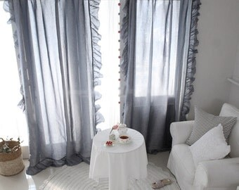 Blue Gray Linen Blended Frilly Curtain