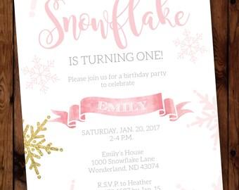 Winter Onederland Birthday Invite, Winter Onederland First Birthday Invitation, Onederland Birthday Girl Invitation, First Snowflake #001