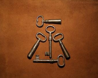 Set of 5 vintage iron skeleton keys