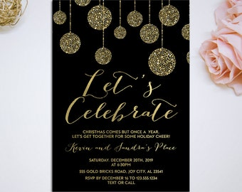 Let's celebrate, Black Gold holiday party invitation, christmas ornaments, christmas invitation, christmas party invitation diy