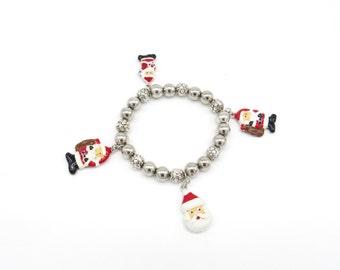 Christmas Charm Bracelet, Christmas Jewelry, Christmas Jewlery, Santa, Stretch Bracelet, Christmas, Holiday Bracelets, Holiday Jewelry