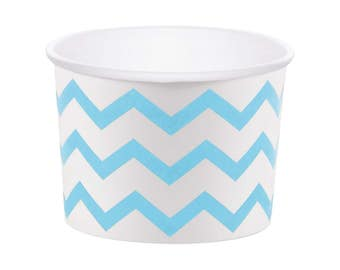Blue Treat Cups - Gender Reveal Party Favors - Chevron Cups - Baby Shower - Candy Cups - Ice Cream Cup - Food Cups - Snack Cups - Party Cups
