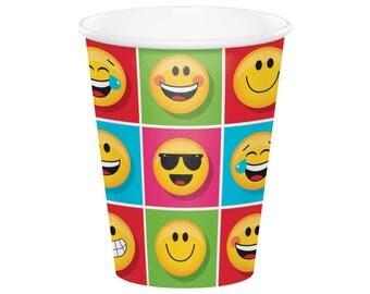 Emoji Cups - Party Decorations - Emoji Birthday - Kids Birthday - Birthday Party - Wink Face - LOL - Smiley - Wink - Sunglasses - Face