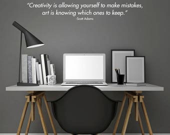Creativity Wall Decal / Scott Adams Creativity Wall Quote Sticker