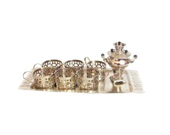 Vintage tea set, Set of Six Glass Holders, tray, set Glass Holders and samovar on tray, Vintage tea set, Set of Six Glass Holders, samovar