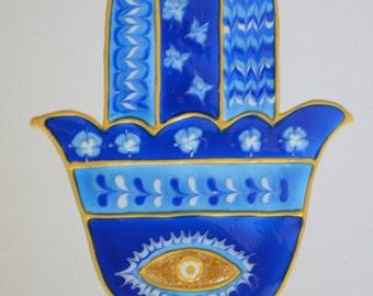 Hamsa hand window decal, stained glass effect hamsa hand, window sun catcher