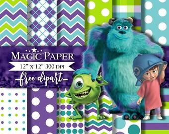 50% OFF SALE Monsters Inc Digital Paper, Papers Scrapbook
