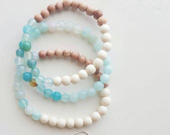 Mermaid Stacks, Beach Bracelets, Boho Bracelets, Stacking Bracelets, Boho Bracelets, Stretch Bracelets, Mermaid Jewelry, Yoga Bracelet