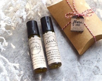 Natural Face Serum Gift Set. Vegan Skincare. Celeste + Jojoba Glow Facial Serum, 10ml