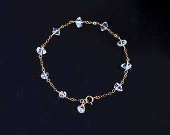 Herkimer Diamond Bracelet - Gold Herkimer Diamond Bracelet, Natural Herkimer Diamond, Herkimer Diamond Jewelry, April Birthstone Bracelet