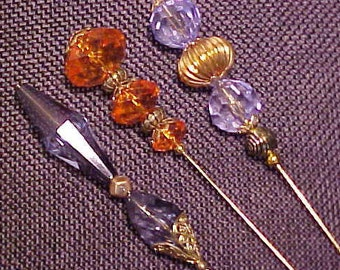 """Formal Faceted Topped Hat Pins. All are a long 8"""". FREE shipping in the United States"""
