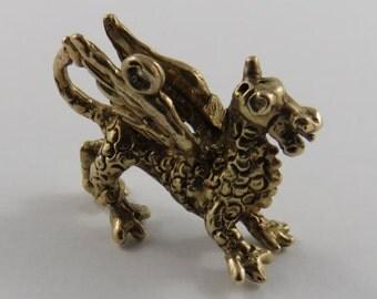 Dragon 9K Gold Vintage Charm For Bracelet