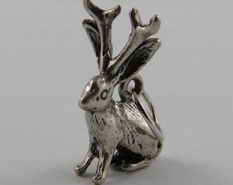 Jackrabbit With Antlers Silver Vintage Charm For Bracelet