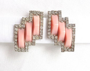 Signed KRAMER PINK Lucite and Rhinestone Art Deco Style Vintage Clip Back Earrings - Estate Jewelry - Rare Designer Signed Pair