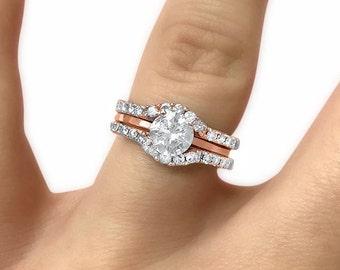 14k rose gold set of 2 curved moissanite wedding rings ring guard ring enhancers
