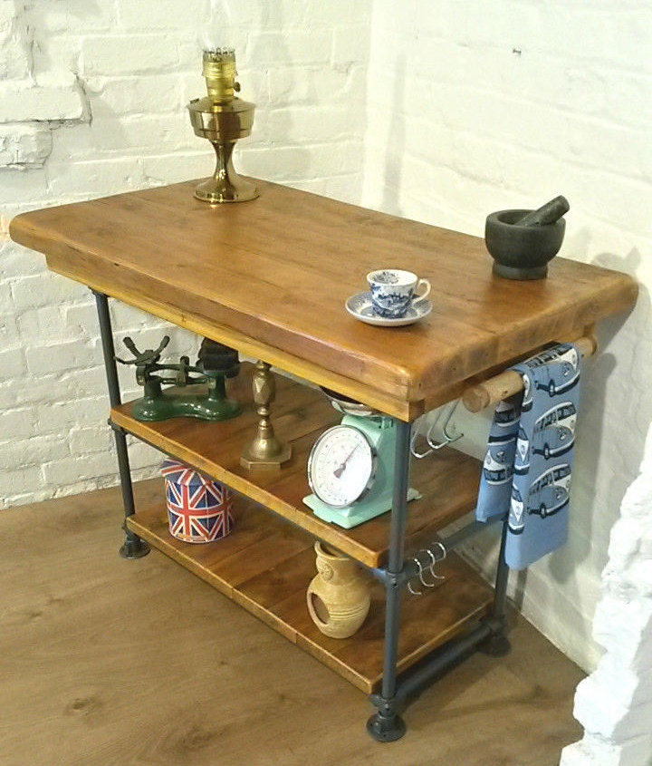 February sale industrial steel pipe butchers block solid reclaimed pine kitchen island table - Industrial kitchen island for sale ...