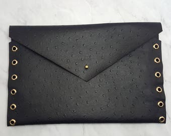 Black Ostrich Envelope Clutch