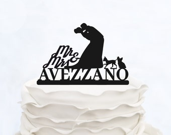 Wedding Cake Topper With Last name_MR & Mrs cake Topper_Custom Cake Topper with 2 dogs_Groom And Bride silhouette personalized Cake Topper
