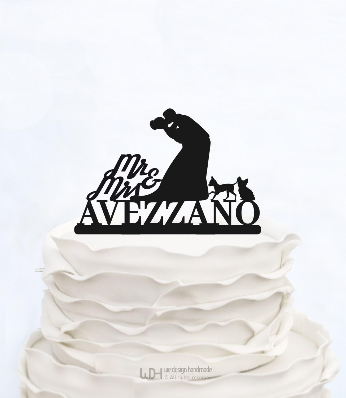 Wedding Cake Topper With Last name MR & Mrs cake Topper Custom