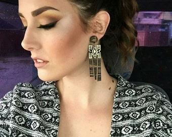Bumba, Tribal Earrings, Laser Cut Earrings, African Earrings, Wood Native Earrings, Aztec Earrings, African Jewelry, Ethnic Earrings