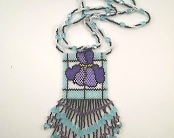 Blue, Purple, Black and White Stained Glass Iris Beaded Peyote Pouch Necklace, Native American Style Medicine Bag