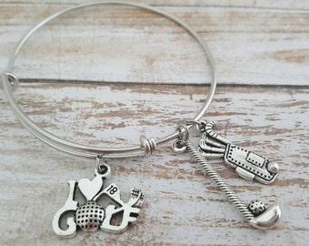 Golf bracelet - Golf charm bracelet - Golf jewelry - Golf bangle - Golf charms - Golf gifts - Women's golf - Golfing - Hole in one