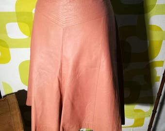 Vintage leather skirt, 80, pink, made in italy
