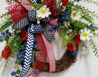 Red White & Blue Patriotic Floral Grapevine Wreath, Patriotic Wreath, Americana Wreath, 4th of July Wreath, Floral Grapevine Wreath, Summer